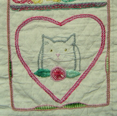 Pekinese stitch heart and flower