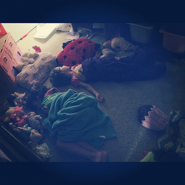 When I went to wake the girls for church this morning, this is how I found them sleeping...