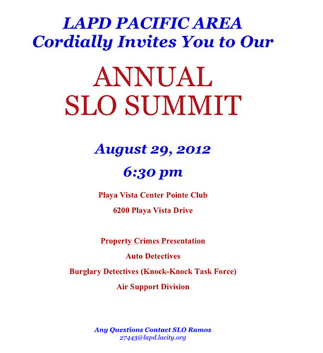 LAPD Pacific Area Senior Lead Officer Summit