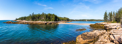 canon usa maine deer isle coast trees reflection rocks sand sky clouds fair day summer panorama ripples