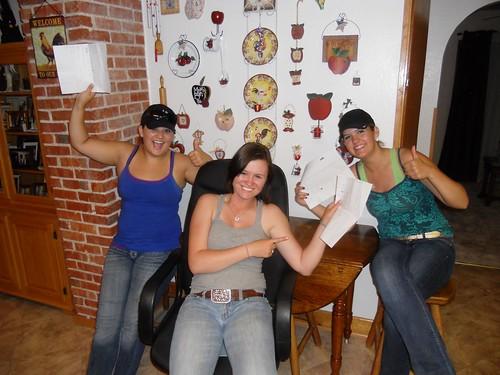 Kellyn, Lara, and Kylie after their quiz