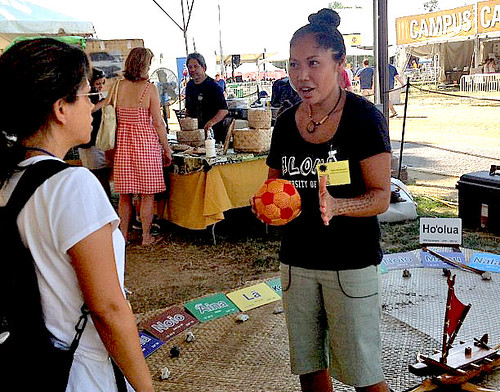 <p>Kala Baybayan explains the star compass at the University of Hawaii exhibit at the Smithsonian Folklife Festival.</p>