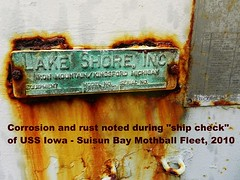 "USS Iowa (BB-61) damage while in the ""mothball fleet"""
