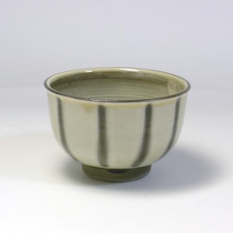 黒木富雄窯 3.5寸深茶碗/指描き縞