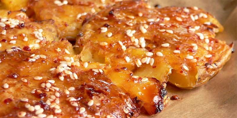Kartoffeln, geplättet & glasiert