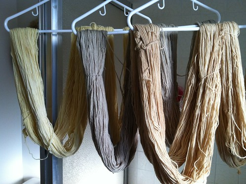 Yarn hanging to dry