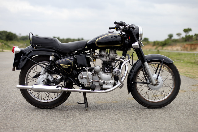 Black and Golden Royal Enfield Bullet