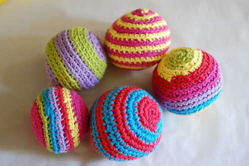stripey crocheted balls for Emeline's 1st birthday