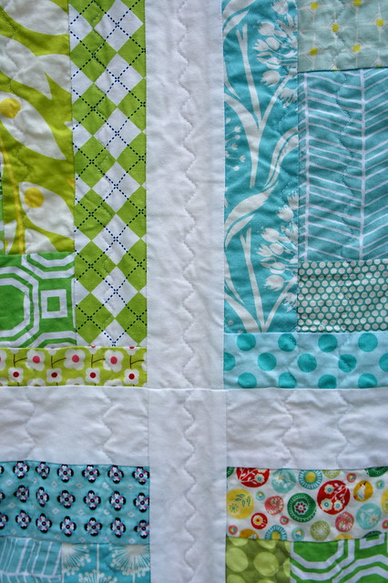 Sherbet Log Cabin Quilt - quilting detail