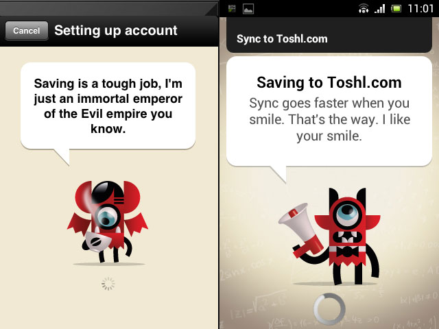 Toshl monsters status line (iPhone left, Android right)