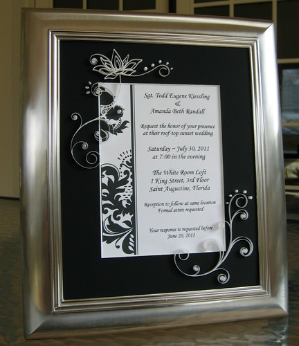 Quilled Black and White Wedding Invitation