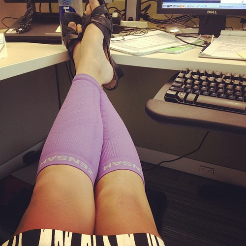 Yes I am wearing my purple compression sleeves around the office today.