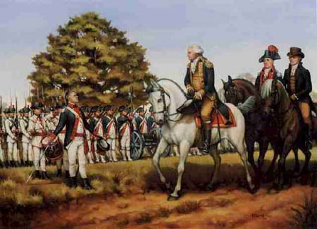 PRESIDENT WASHINGTON LEADS THE TROOPS