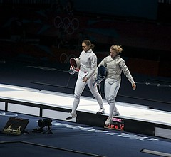 stage(0.0), performance art(0.0), fencing weapon(1.0), sport venue(1.0), sports(1.0), fencing(1.0), foil(1.0),