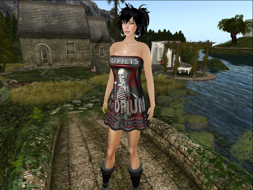 Opium Group Gift Mesh Dress Puppets Red by Cherokeeh Asteria