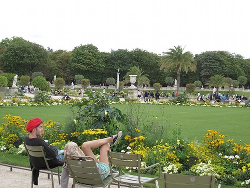Tourists lounging at Luxembourg  Gardens