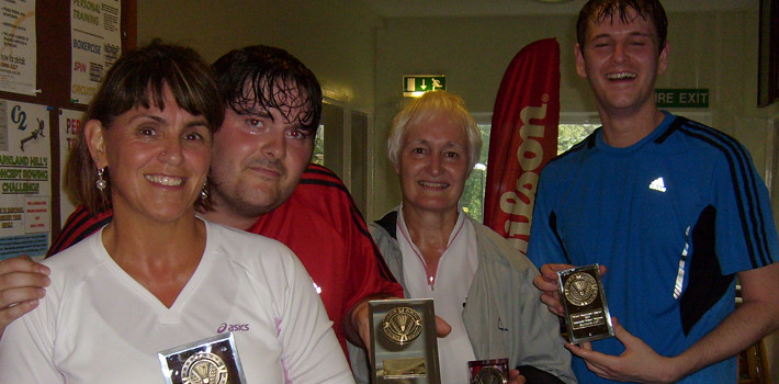 Bolton Badminton League Handicap Tournament 2012 Mixed Doubles Winners (Alison Muddiman and Craig Harvey) and Runners-up (Eileen Beeney and Chris Travis)