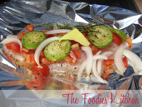 Baked Fish with Cherry Tomatoes and Tomatillos in Foil Packets