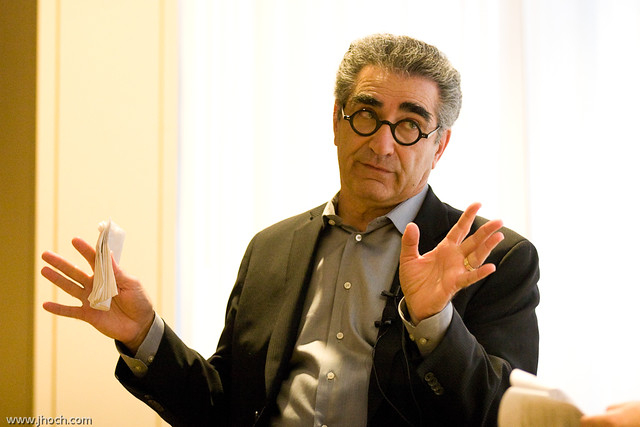 Eugene Levy has bushy, big, huge, eyebrows. Possibly a unibrow