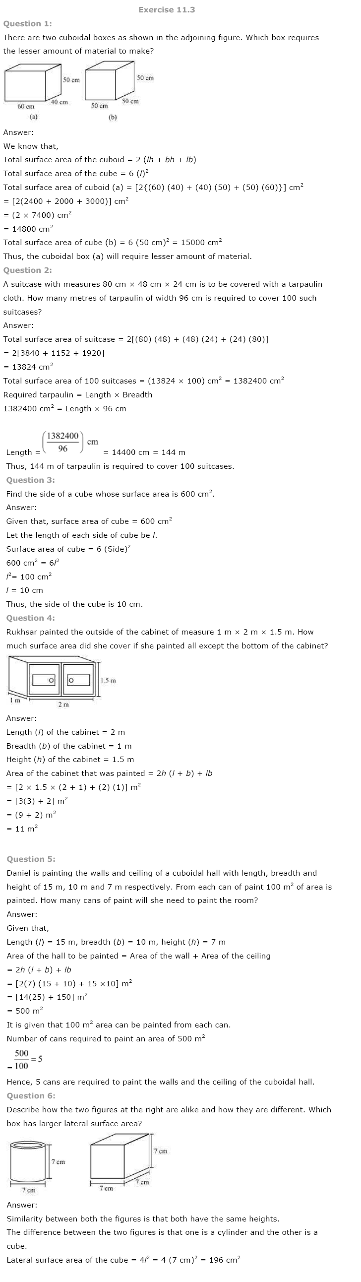 NCERT Solutions For Class 8 Maths Ch 11 Mensuration PDF Download