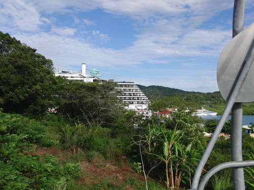 Our ship in Roatan as seen from the magical beach chair.