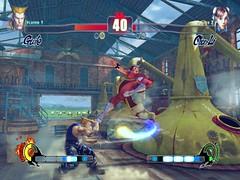 SF4 Guile's HP Sonic Boom vs Chun Li's j.HK