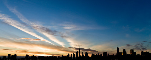 sky chicago weather silhouette skyline clouds sunrise bluegold