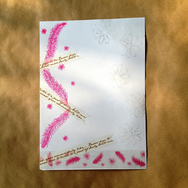 #letter #washitape #decotape #feather #writing #text #pink #gold