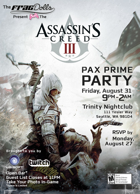 The Frag Dolls present the Assassin's Creed III PAX Party - Invite