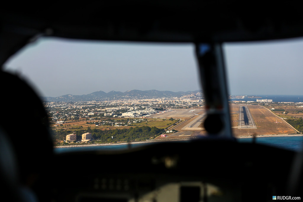 On approach to Ibiza, about the time the laptop is stowed away and enjoy the best view: the pilot's!