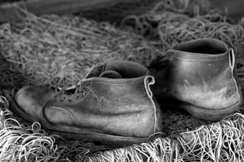 life old blackandwhite bw fish net leather still shoes boots pentax gimp worn k5 sweron 20120822044 icantfigureoutwhyitisnotsavingmyexifdata