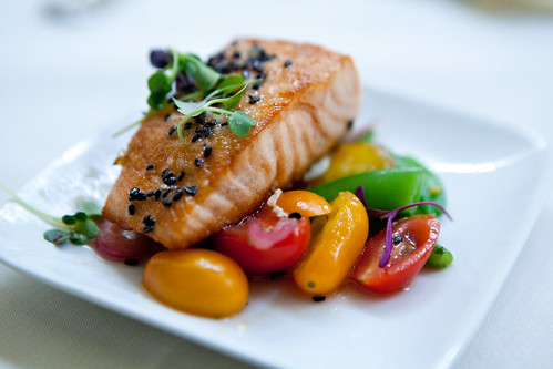 Grilled salmon, black sesame seeds with summer salad