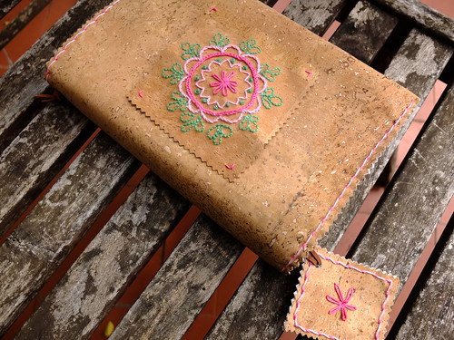 Embroidered cork fabric bookcover