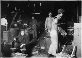 Day scene. Wheaton Glass Works. Boy is Howard Lee, November 1909