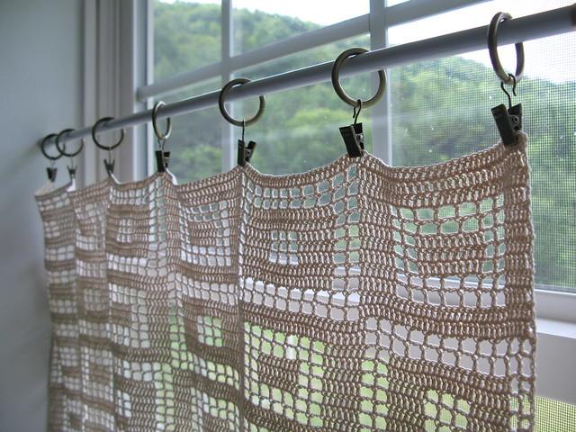 Fluid Motion Crochet Filet Curtain