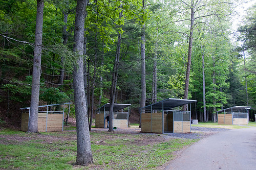 There are 14 (12x12) covered stalls along with 14 camping sites at Douthat State Park for Equestrian camping