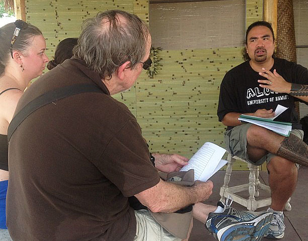 <p>Windward Community College Instructor Aaron Sala gives a talk about Hawaiian music in Aunty Noe's porch at the Smithsonian Folklife Festival.</p>
