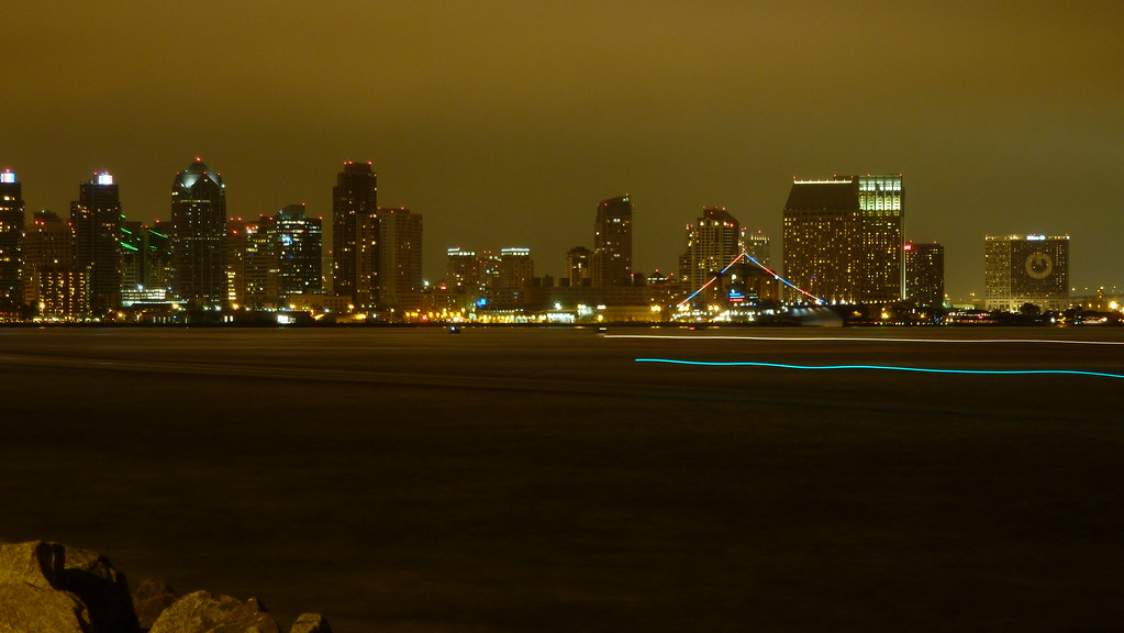 San Diego at Night (with boat trail)