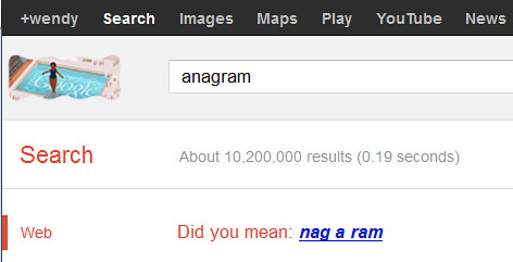 anagram search engine suggestion
