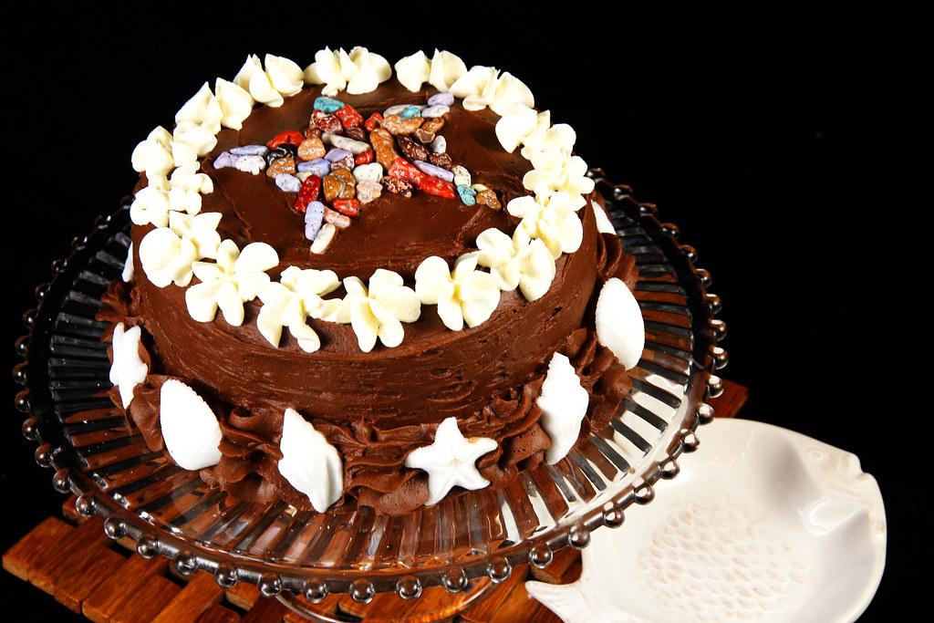 Cool Starfish Birthday Cake Double Fudge Cake Dark Chocolate F Flickr Personalised Birthday Cards Akebfashionlily Jamesorg