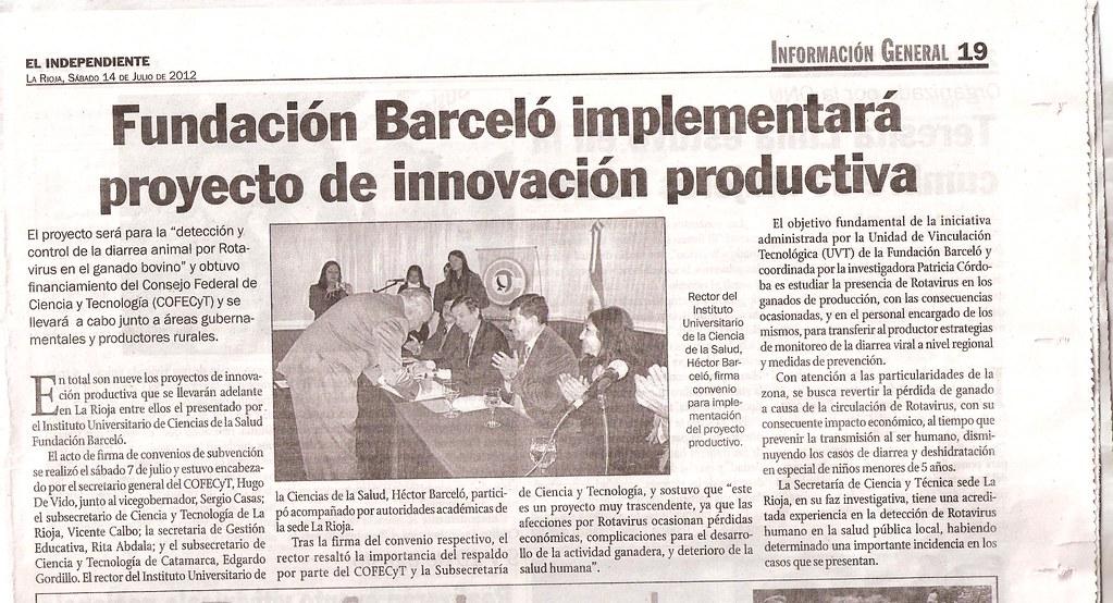 El Independiente - FB Implementará proyecto de innovación productiva - 14.07.2012