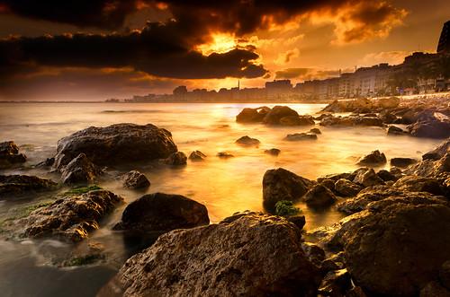 無料写真素材, 朝焼け・夕焼け, ビーチ・海岸, 都市・街, 風景  エジプト