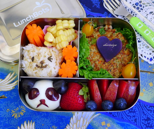 Panda Egg Salmon Patty Bear Onigiri Lunchbots Bento by sherimiya ♥