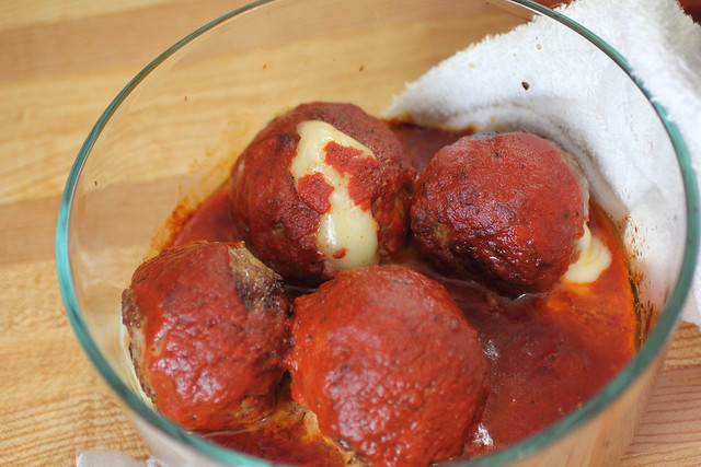 Giant cheese stuffed meatballs   Flickr - Photo Sharing!