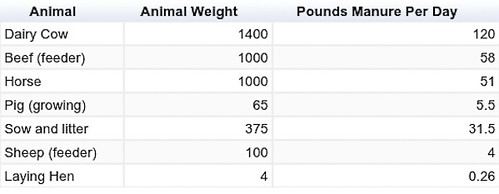 Animal Manure Chart wide (1 of 1)