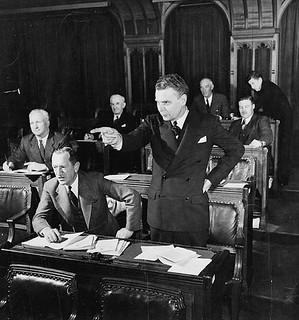 John George Diefenbaker, M.P., speaking in the House of Commons / John George Diefenbaker, député, faisant une intervention à la Chambre des communes