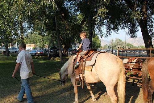 Olsen rides a pony, er, a horse