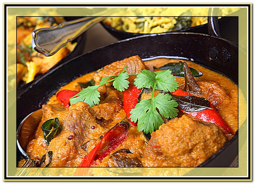 Lamb korma with rice and vegetable curry