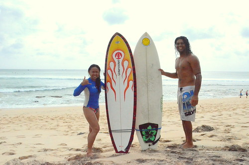 Twin fish surfboards on Dreamland Beach, Indonesia