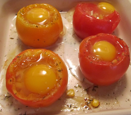 Baked Egg-Stuffed Tomatoes